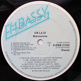 marmalade lp ob la di ob la da embassy uk label 1