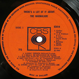 marmalade lp there's a lot of it about cbs uk mono label 1