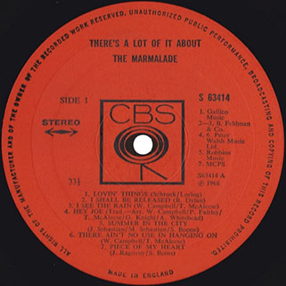 marmalade lp there's a lot of it about cbs uk stereo label 1