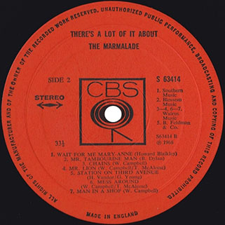 marmalade lp there's a lot of it about cbs uk stereo label 2