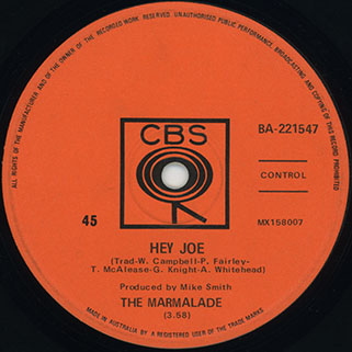marmalade single cbs australia label hey joe