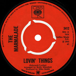 marmalade single cbs 2 uk label lovin'things
