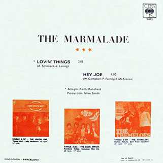 marmalade single cbs spain lovin' things - hey joe back