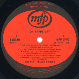 new freedom singers lp oh happy day label 1