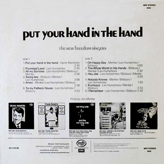 new freedom singers lp put your hand in the hand back