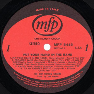 new freedom singers lp put your hand in the hand label 1