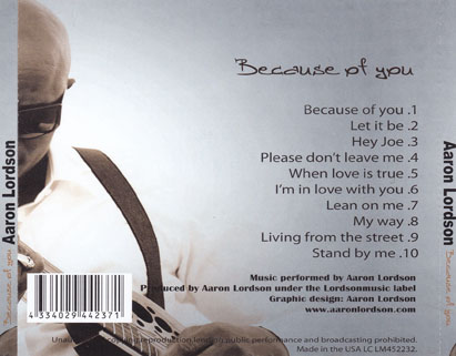 aaron lordson cd because of you tray