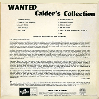 calder's collection lp wanted back cover