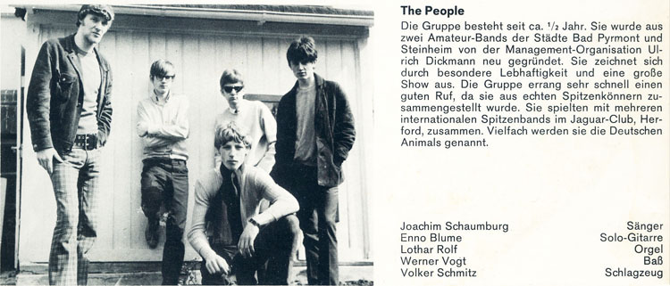 people lp beat parade 1967 part of back cover about the people