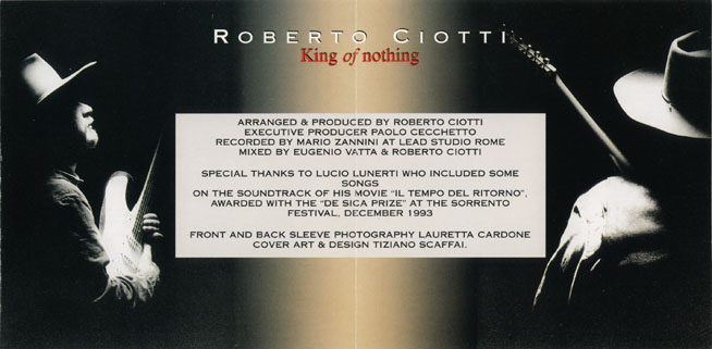 roberto ciotti cd king of nothing sleeve in