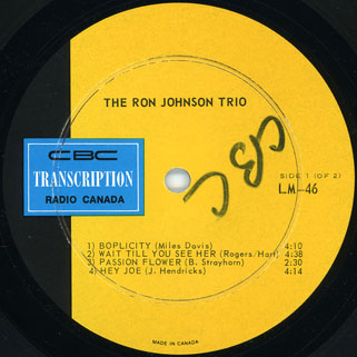 ron johnson trio lp jazz label 1