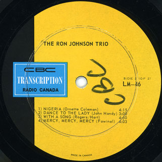 ron johnson trio lp jazz label 2