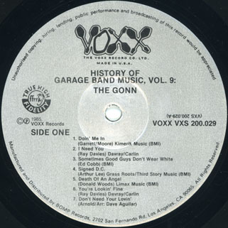 gonn lp history of garage band music volume 9 label 1