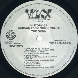 gonn lp history of garage band music volume 9 label 2