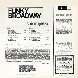 majestics lp funky broadway back cover