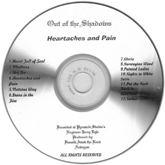 out of the shadows cd heartaches and pain label
