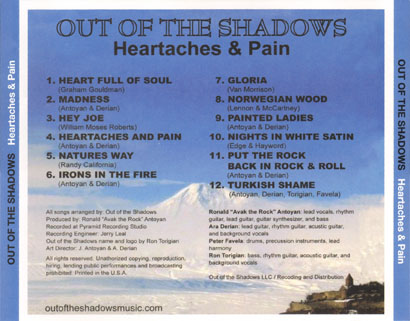 out of the shadows cd heartaches and pain tray