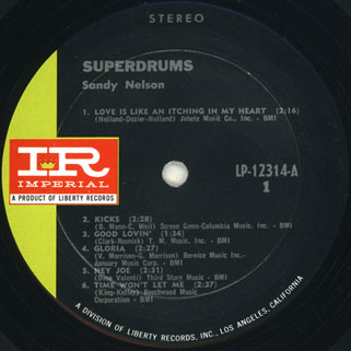 sandy nelson usa lp superdrums label 1
