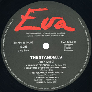 standells lp dirty water stereo eva records 12083 label 2