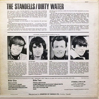 standells lp dirty water sparton mono back cover