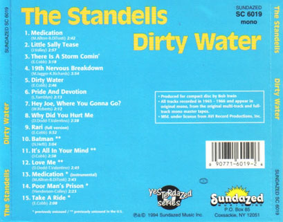 standells cd dirty water sundazed mono tray