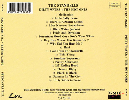 standells cd dirty water the hot ones eva records tray