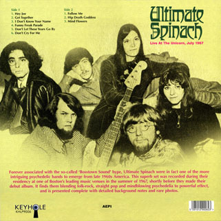 ultimate spinach live at the unicorn keyhole lp back