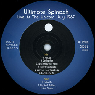ultimate spinach live at the unicorn keyhole lp label 2