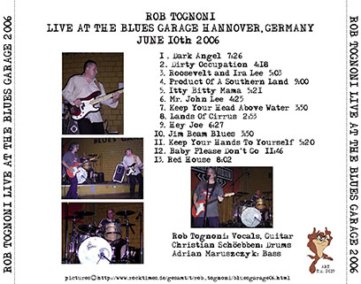 rob tognoni live at blues garage hannover germany 2006 tray