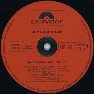 roy buchanan that's what i am here for france  label 1