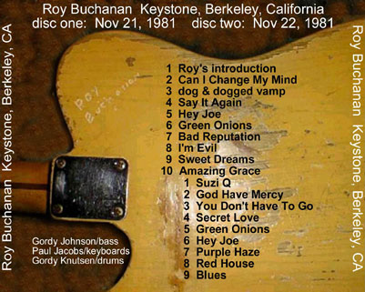roy buchanan november 21 and 22 the doberman, the liberator woman and the blues man tray