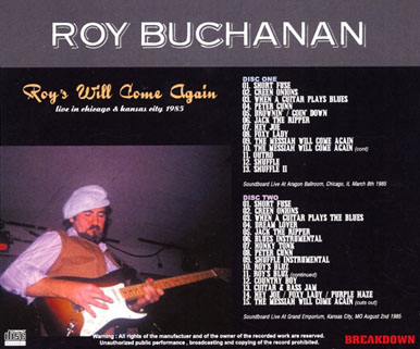 roy buchanan 1985 08 02 roy's will come again tray