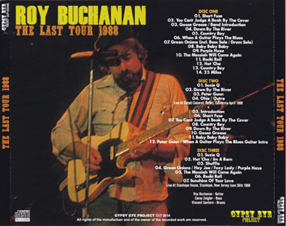 roy buchanan 1988 06 30 stanhope the last tour 1988 tray