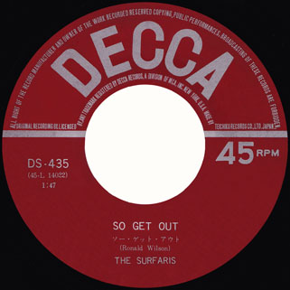 surfaris single decca japan side so get out