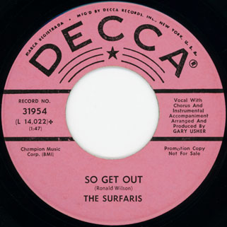 surfaris single promo decca side so get out