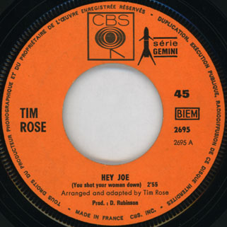 rose tim single hey joe france record side hey joe
