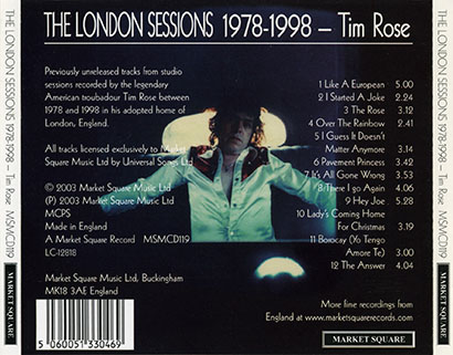 tim rose cd london sessions trayout