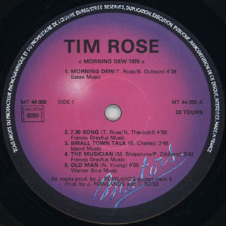 tim rose lp morning dew 1976 disques motors label 1