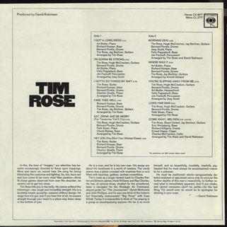 tim rose lp tim rose columbia cs 9577 back