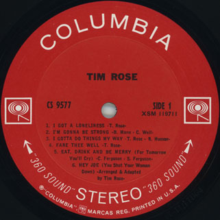 tim rose lp tim rose columbia cs 9577 label 1