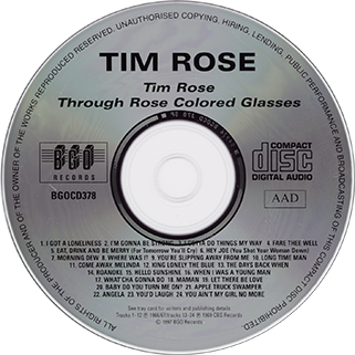 tim rose cd same and through colored glasses label