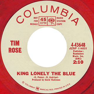 tim rose single promo red side king lonely the blue